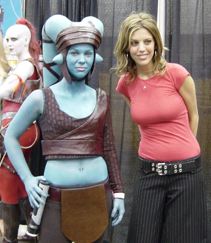 Aayla Secura Cosplayer with Amy Allen Who Played Aayla Secura