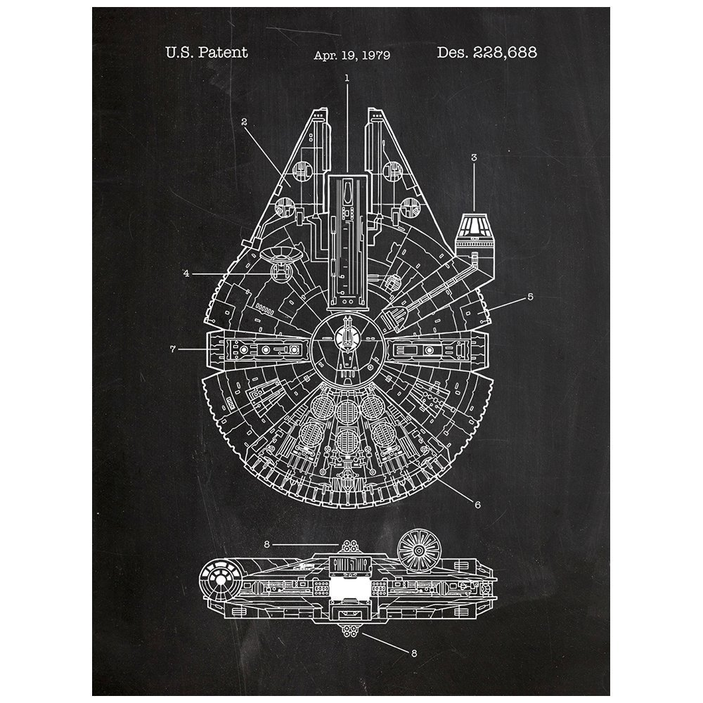 Inked and Screened Star Wars Millennium Falcon Patent Design