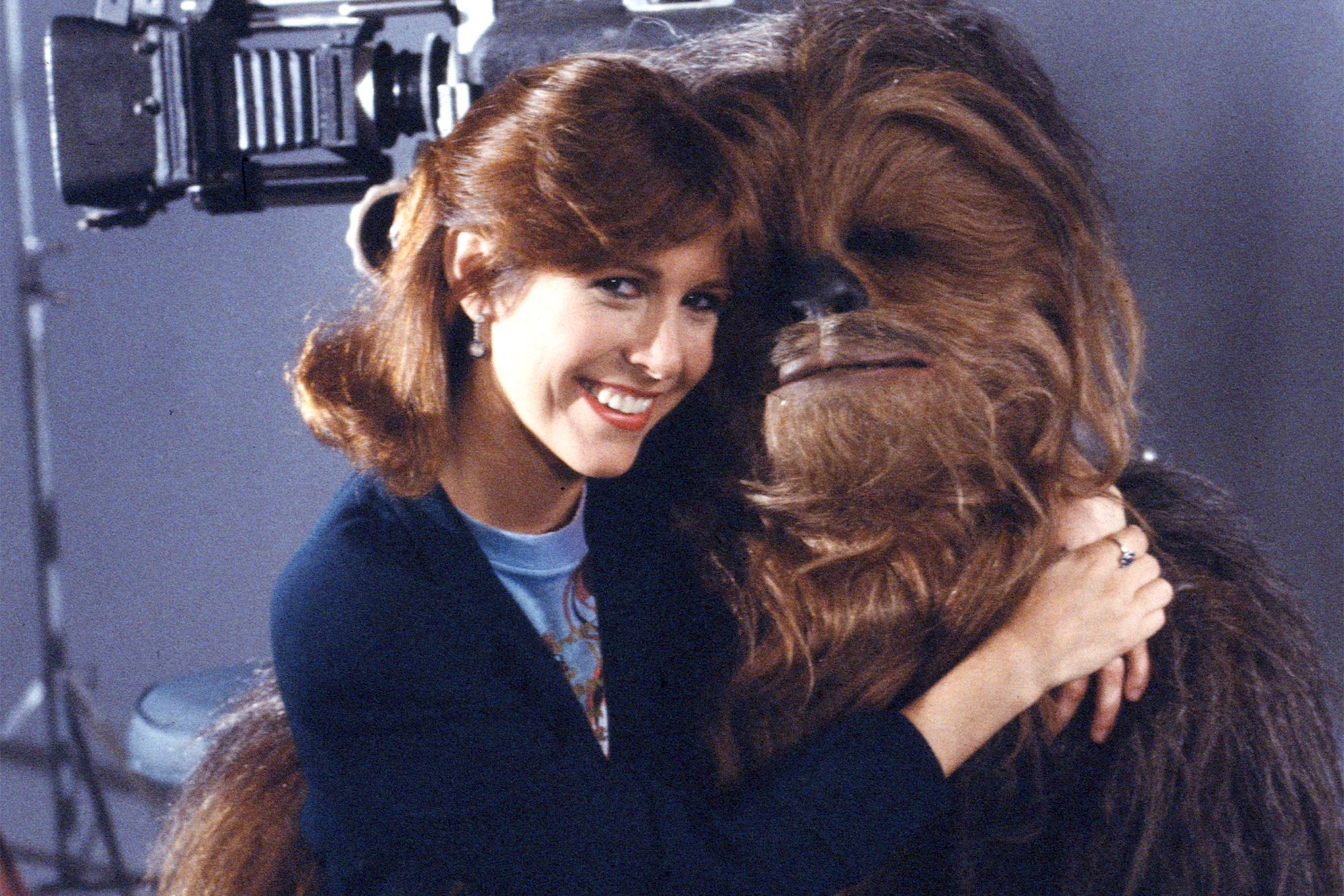 Peter Mayhew and Carrie Fisher